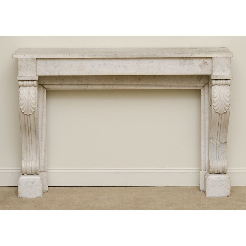 FRENCH CARVED WHITE MARBLE FIREPLACE SURROUND, French, 19th century