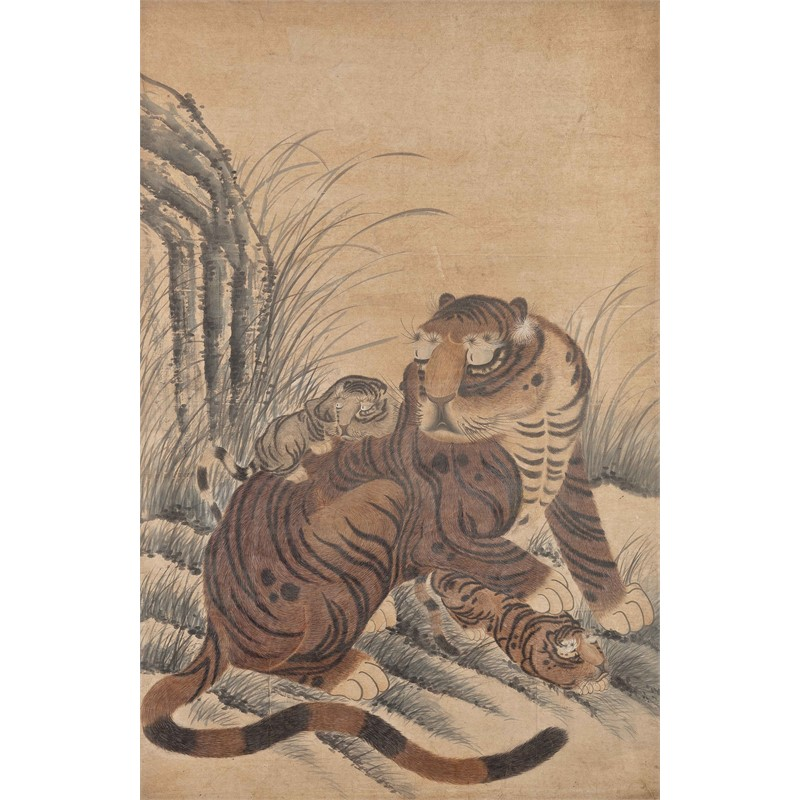 SCROLL OF A TIGER WITH TWO CUBS, Japanese, 19th century