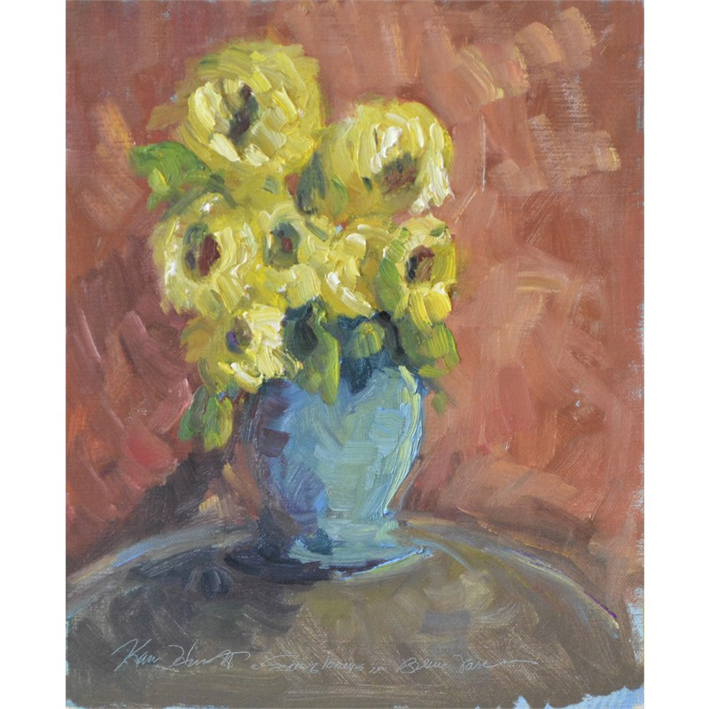 Sunflowers in Blue Vase