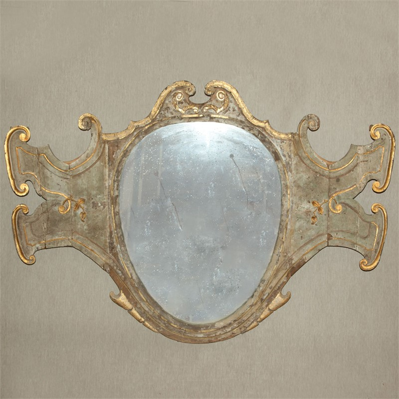 VENETIAN PAINTED SHIELD-FORM MIRROR, Venetian, 18th century