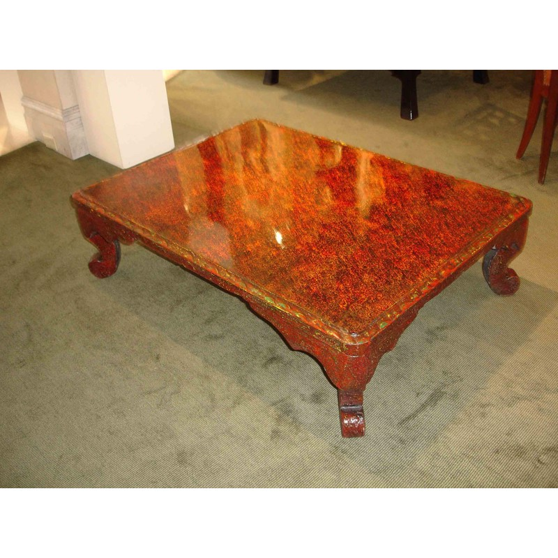 SINGLE RED LACQUER LOW TABLE WITH BAROQUE LEGS, Japanese, 19th century