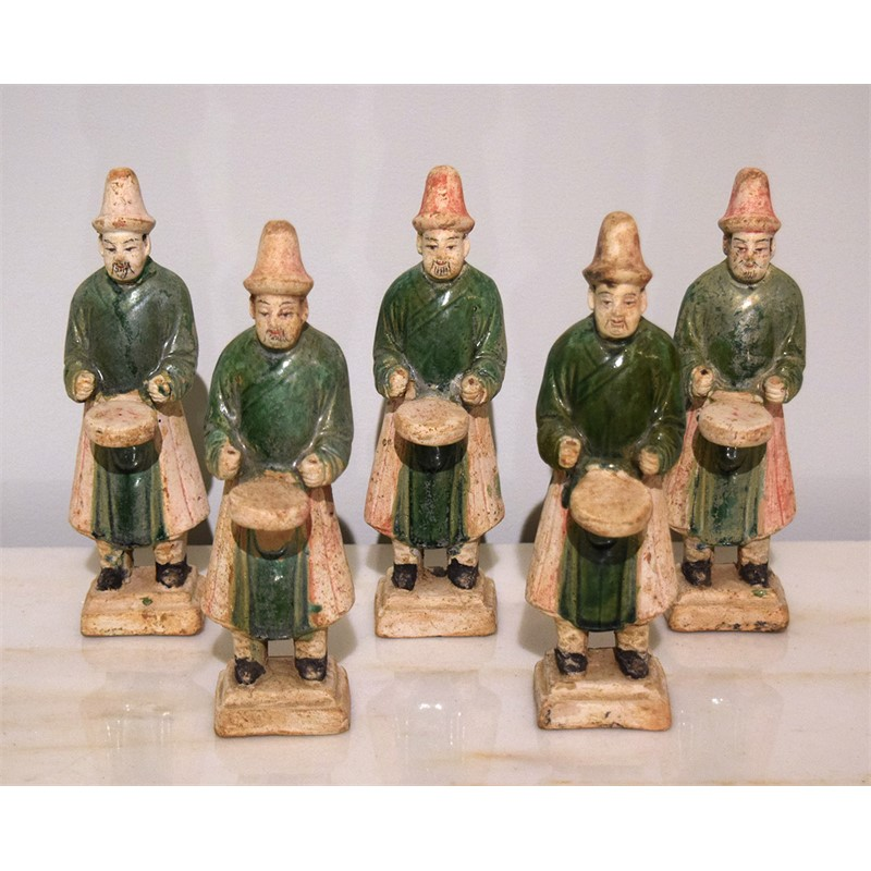 SET OF 5 GREEN-GLAZED DRUMMERS , Ming Dynasty (1368-1644)