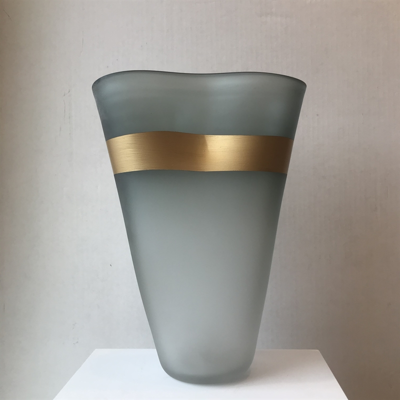 Matte Grey Vase with Gold