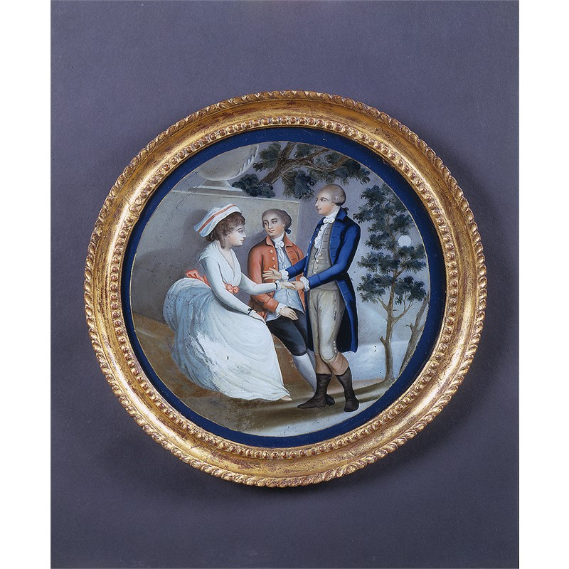 ROUND REVERSE PAINTING ON GLASS WITH TWO MEN COURTING LADY BY TREE, 18th century