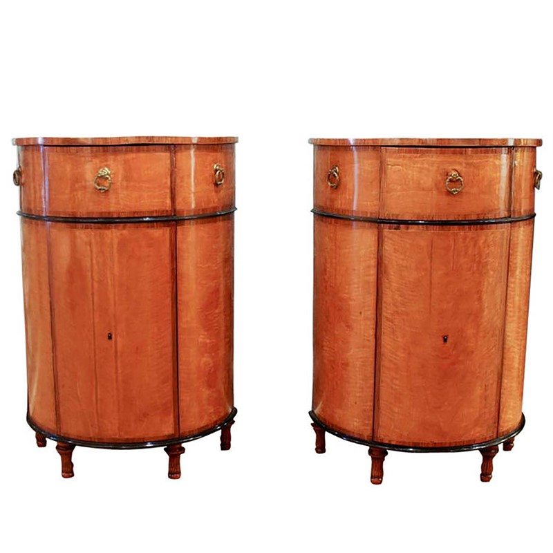 PAIR OF SHERATON INLAID SATINWOOD DEMILUNE CABINETS, English , circa 1785