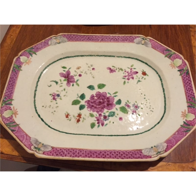 FAMILLE ROSE FLORAL MEAT PLATTER, Chinese, 18th century
