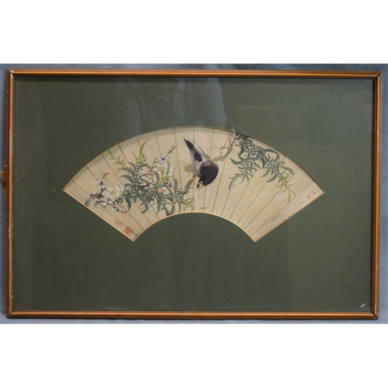 FAN PAINTING,  BIRD PERCHED ON GREEN BRANCH WITH WHITE BLOSSOMS, Chinese, 19th century
