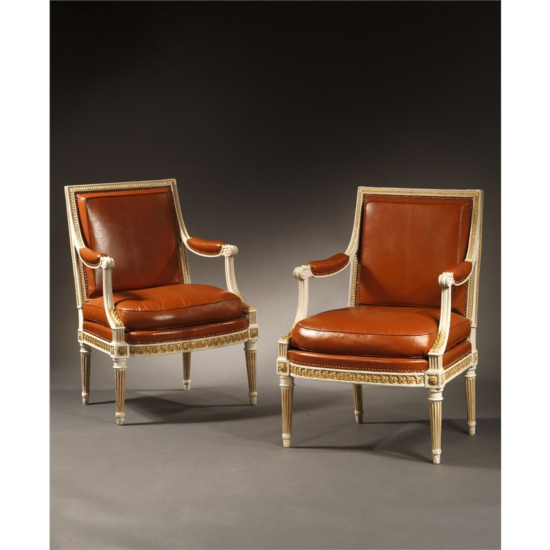PAIR OF LOUIS XVI PAINTED AND PARCEL GILT FAUTEUILS STAMPED H. JACOB, French, late 18th century