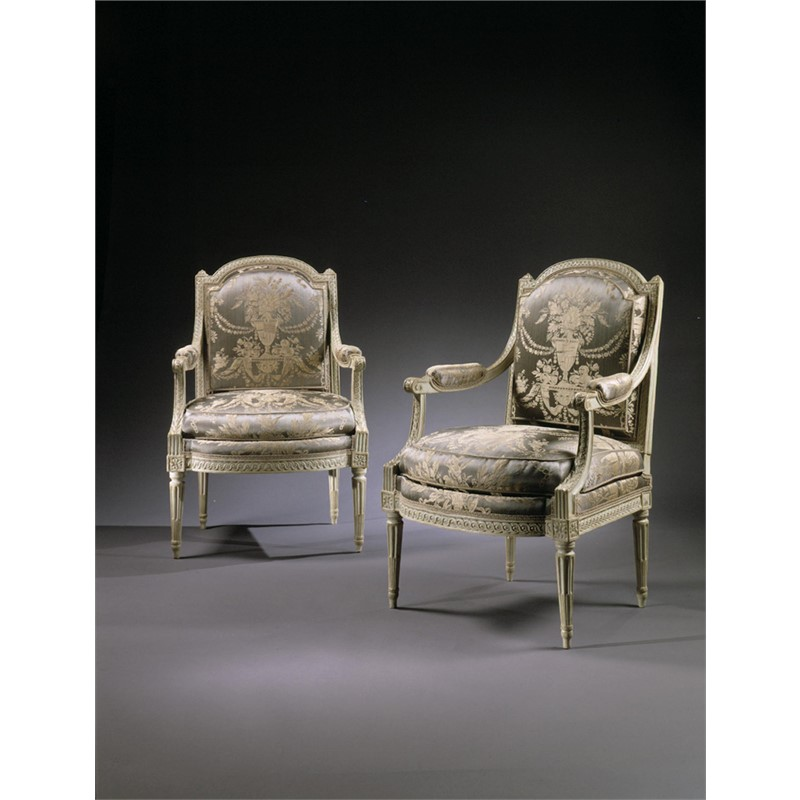 PAIR OF LOUIS XVI GREY PAINTED FAUTEUILS STAMPED P. PLUVINET, French, circa 1775