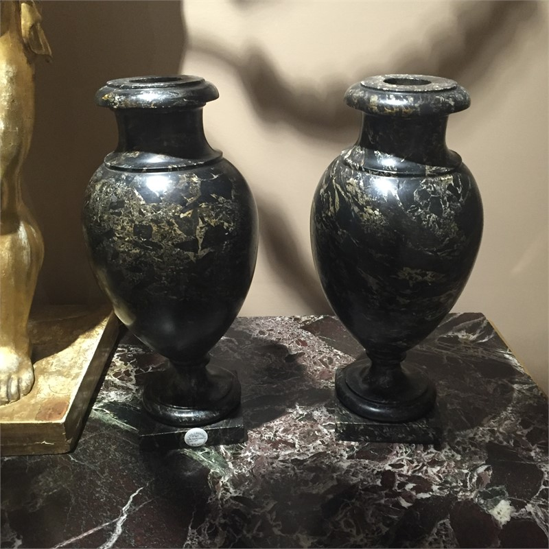 PAIR OF LOUIS XVIII MARBLE VASES, French, 19th century