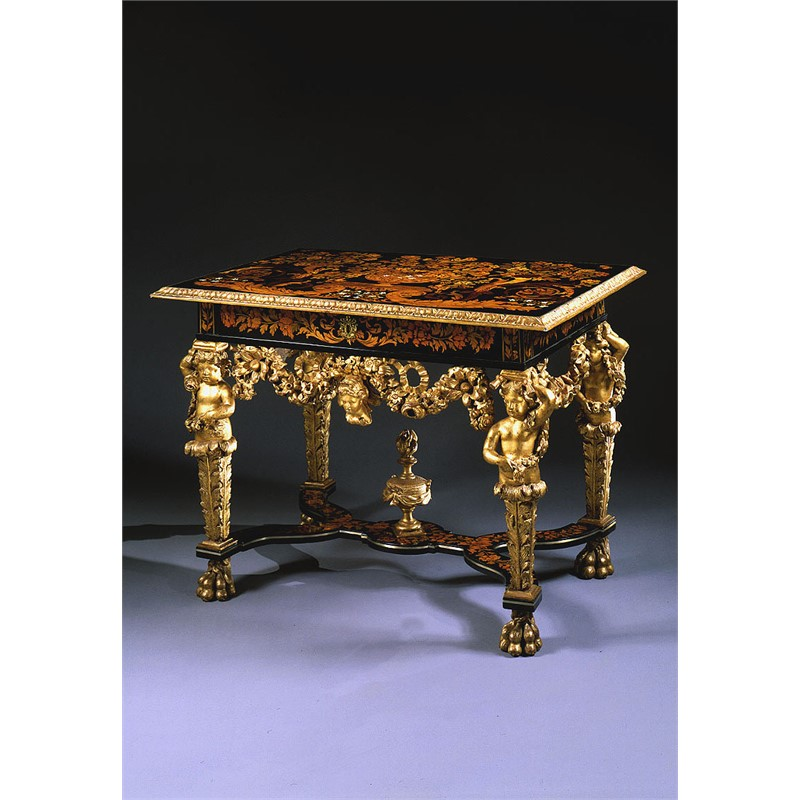 LOUIS XIV MARQUETRY TABLE WITH GILT FIGURES, French, circa 1680