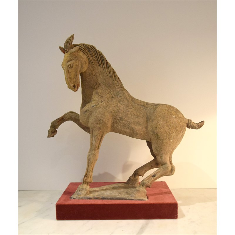 POTTERY FIGURE OF A PRANCING HORSE, Chinese, Tang Dynasty (618-906)