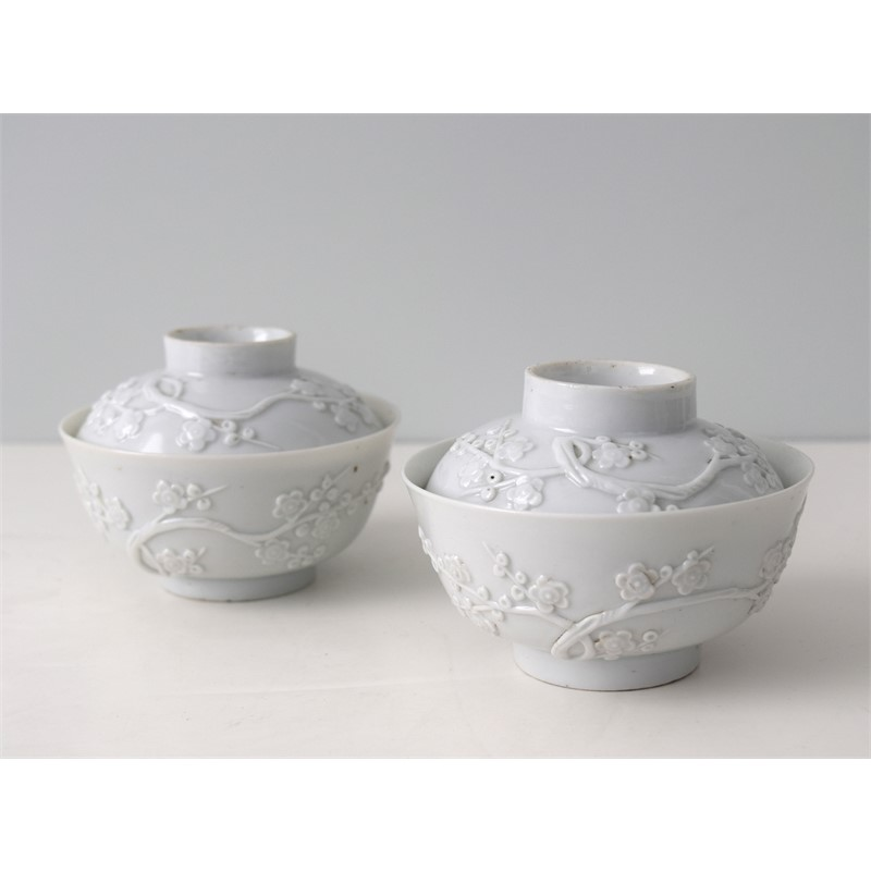 PAIR OF BLANC-DE-CHINE BOWLS AND COVERS WITH MOLDED PRUNUS BLOSSOMS, Qing Dynasty, Kangxi period (1662-1722)
