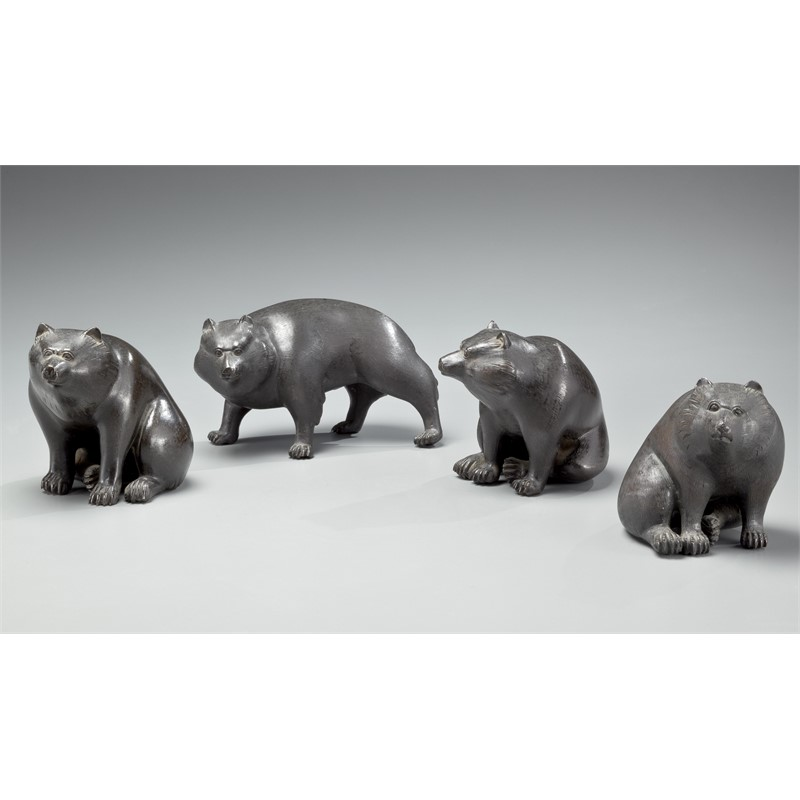 FOUR BRONZE OKIMONO OF HIMALAYAN BROWN BEARS , Meiji (1868-1912)/Taisho (1912-1926) Period