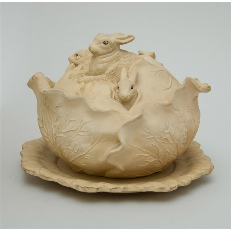 CONTINENTAL POTTERY RABBIT TUREEN, COVER AND STAND