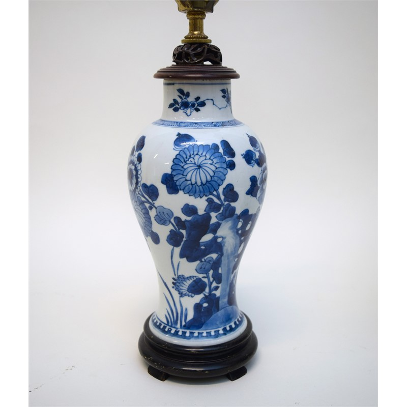 BLUE AND WHITE JAR MOUNTED AS A LAMP, Chinese, Kangxi Period (1662-1722)