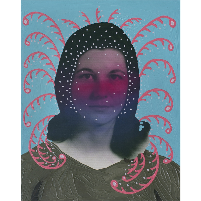 Untitled (Woman with Dots and Floral Pattern) by Daisy Patton