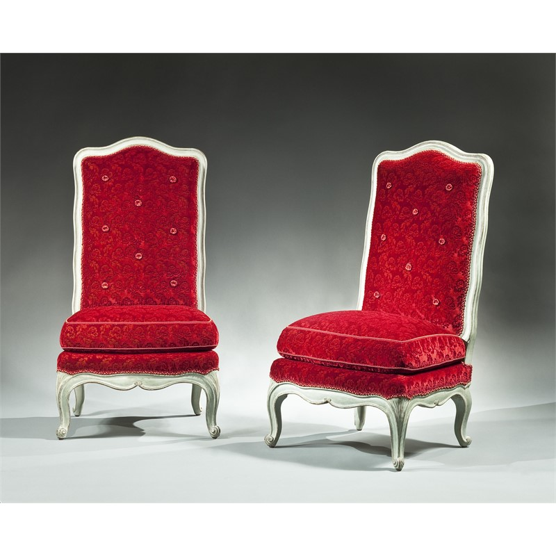 PAIR OF LOUIS XV PAINTED CHAUFFEUSE, French, circa 1775
