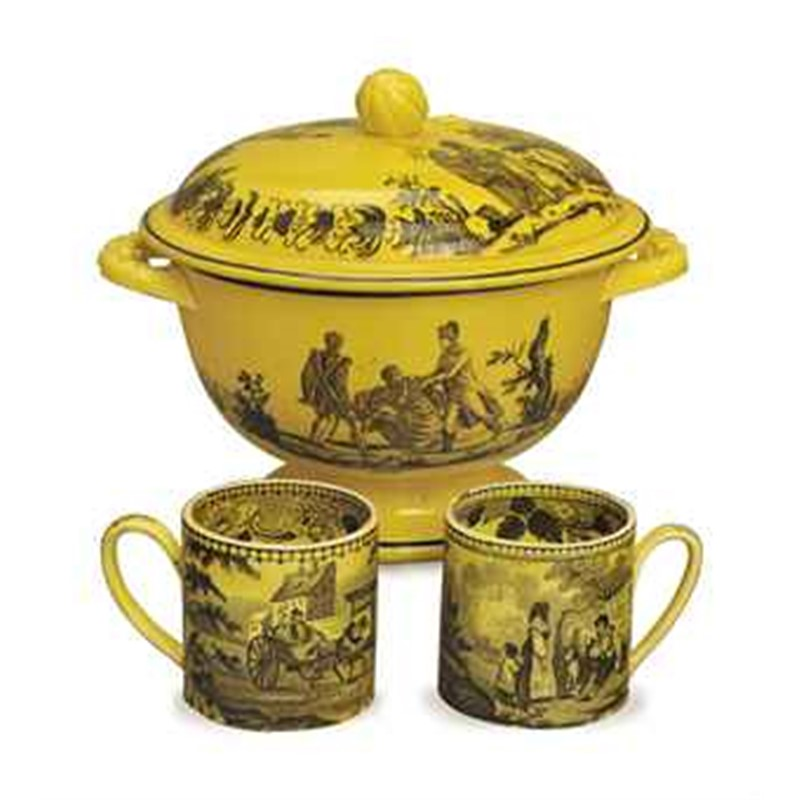 A FRENCH CREAMWARE YELLOW-GROUND TRANSFER-PRINTED PART DESSERT SERVICE