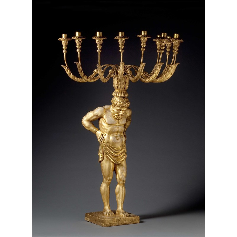 ITALIAN NEOCLASSICAL GILT WOOD AND GILT METAL FLOOR CANDELABRUM, Italian, late 18th century