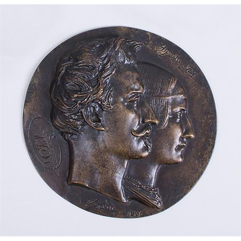 BRONZE RONDEL OF COUPLE, French, 1834