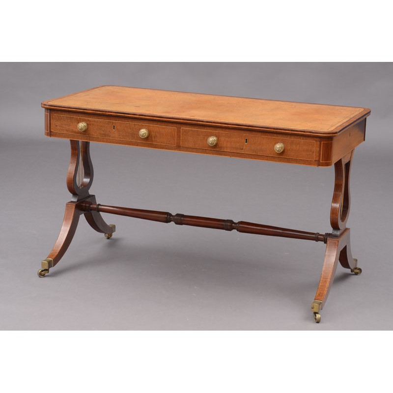 FINE REGENCY HARDWOOD INLAID LIBRARY TABLE, English, 19th century