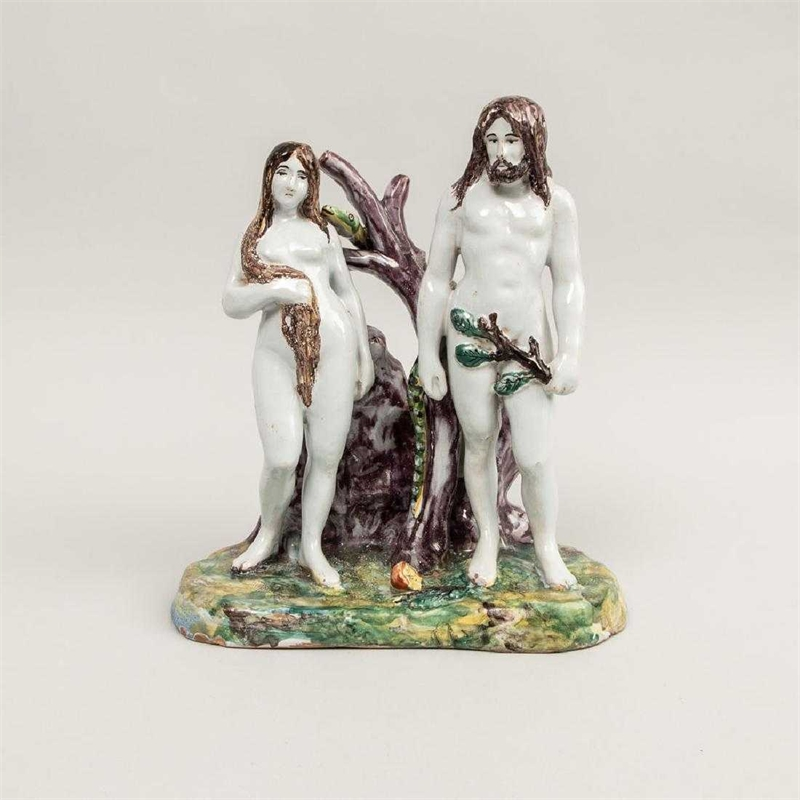 FRENCH FAIENCE OF ADAM AND EVE, French, 18th century