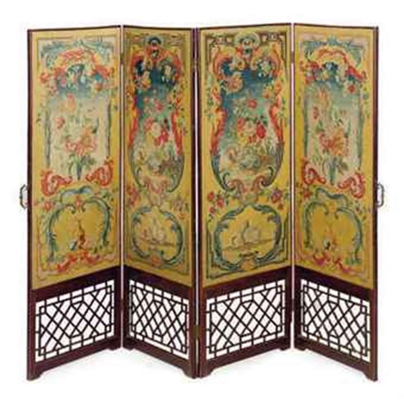 FRENCH NEEDLEWORK AND MAHOGANY FOUR PANEL DRESSING SCREEN, French, 18th century