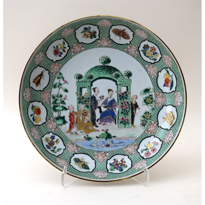 "FAMILLE ROSE DISH WITH ""THE ARBOR"", Chinese, 1738"