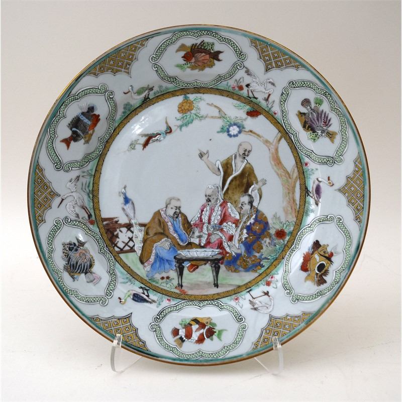 "FAMILLE ROSE DISH WITH ""THE DOCTOR'S VISIT TO THE EMPEROR"", Chinese, Qianlong period, circa 1738"