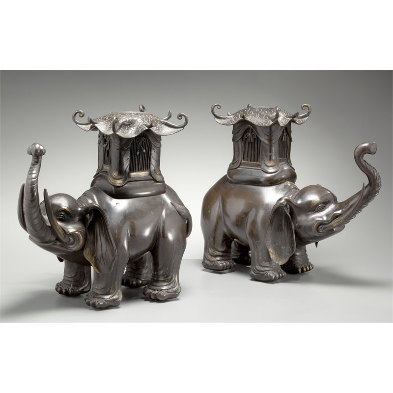 COMPANION PAIR OF JAPANESE BRONZE LAMPS IN THE FORMS OF ELEPHANTS, Japanese, 19th century