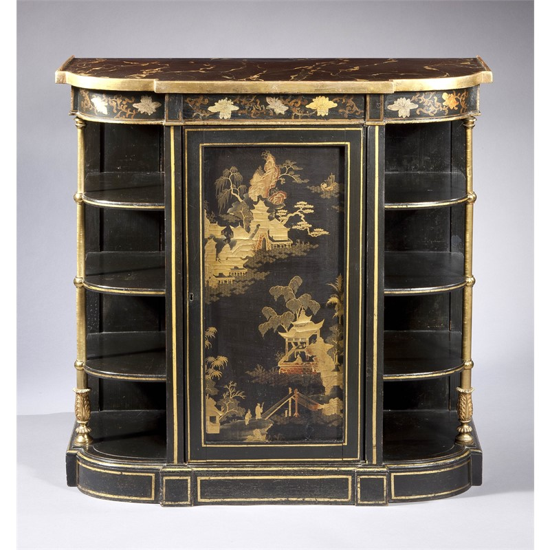 REGENCY JAPANNED DECORATED SIDE CABINET WITH JAPANESE LACQUER PANEL INSET, English, 19th century