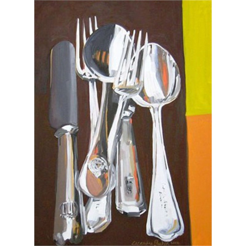 Cutlery On Yellow & Brown