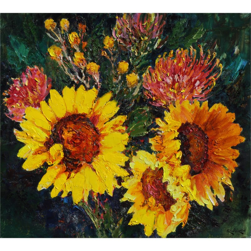 Sunflowers and Pincushions
