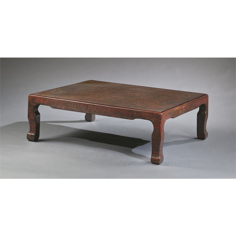 LOW LACQUER COFFEE TABLE WITH RED HIGHLIGHTS, Japanese, 19th century