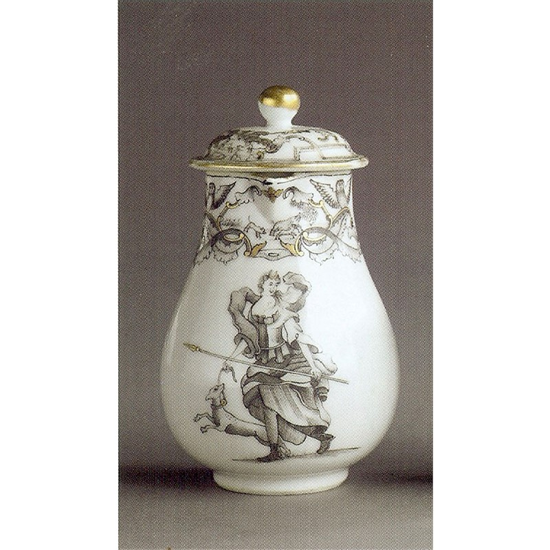 GRISAILLE MILK JUG WITH DIANA AND HER DOG, Chinese, circa 1740