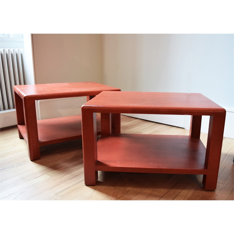 PAIR OF RED LACQUERED LINEN SIDE TABLES, American, 20th century