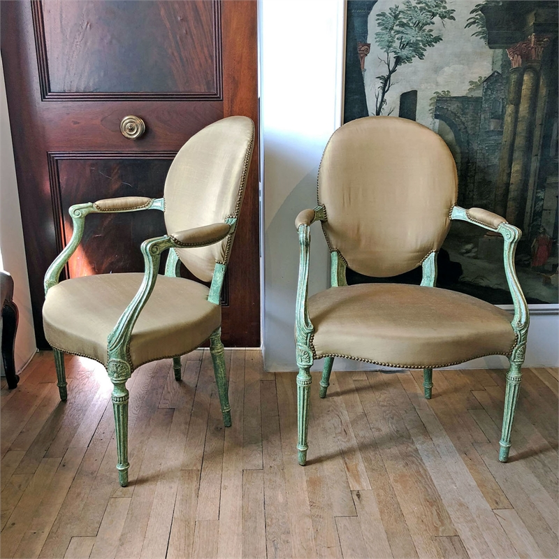 PAIR OF GEORGE III PAINTED ARMCHAIRS, English, 18th century