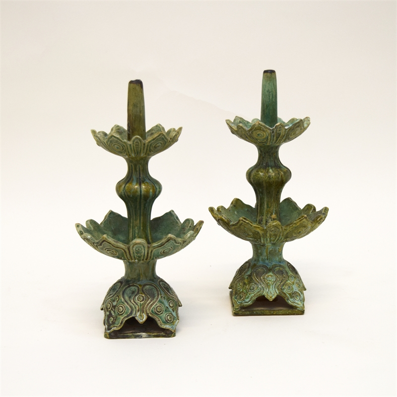 PAIR OF GREEN GLAZED POTTERY PRICKET CANDLESTICKS, Chinese, 19th century