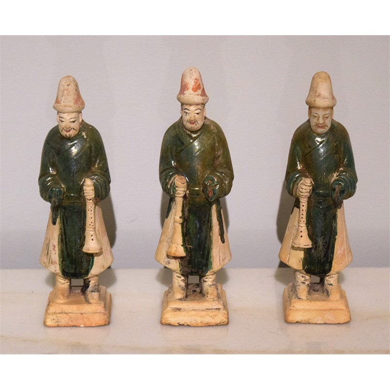 SET OF 3 GREEN-GLAZED POTTERY TRUMPETERS, Ming Dynasty (1368-1644)