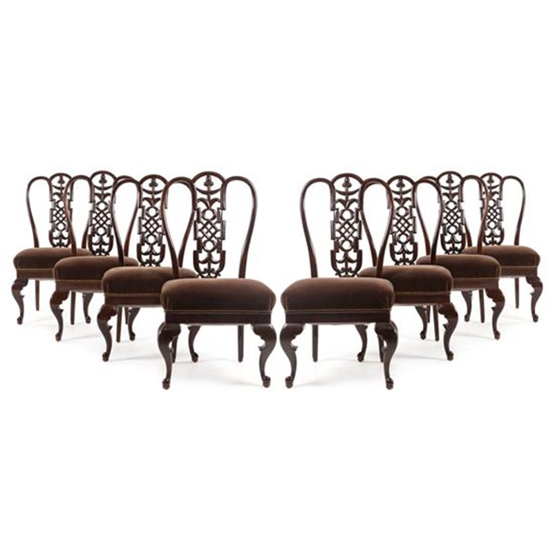 SET OF EIGHT DINING CHAIRS, Hungarian, circa 1915-1918