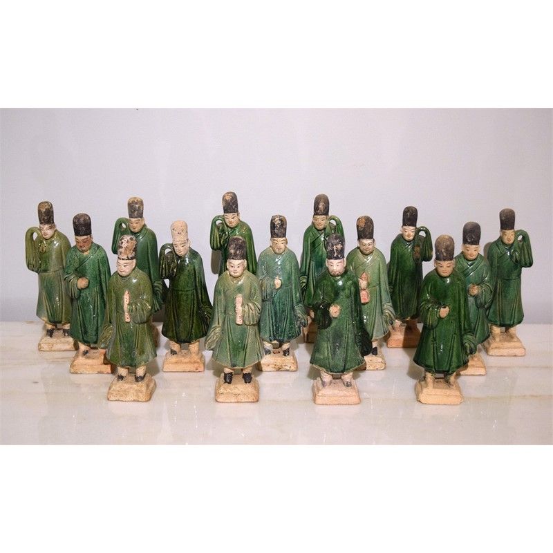 SET OF 15 GREEN-GLAZED POTTERY FIGURES, Ming Dynasty (1368-1644)
