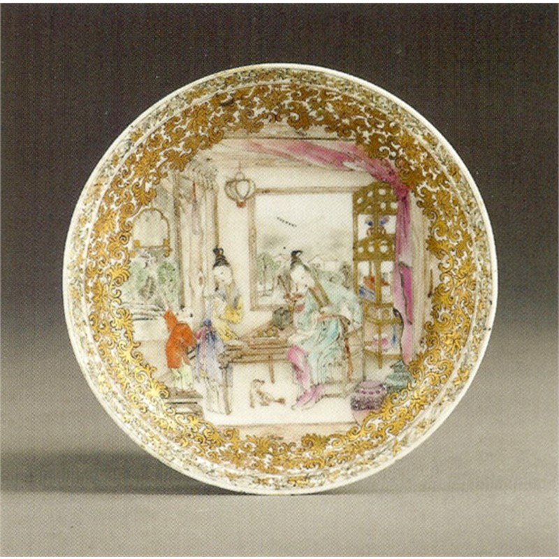 CHINESE EXPORT FAMILLE-ROSE SAUCER, Chinese, circa 1735-1745