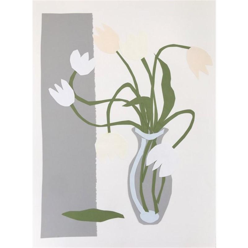 Collage, White Tulips in Gray Vase I, 2019