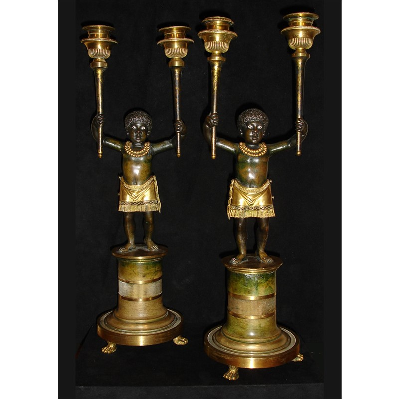 PAIR OF DIRECTOIRE ORMOLU AND PATINATED BRONZE TWO-LIGHT CANDELABRA