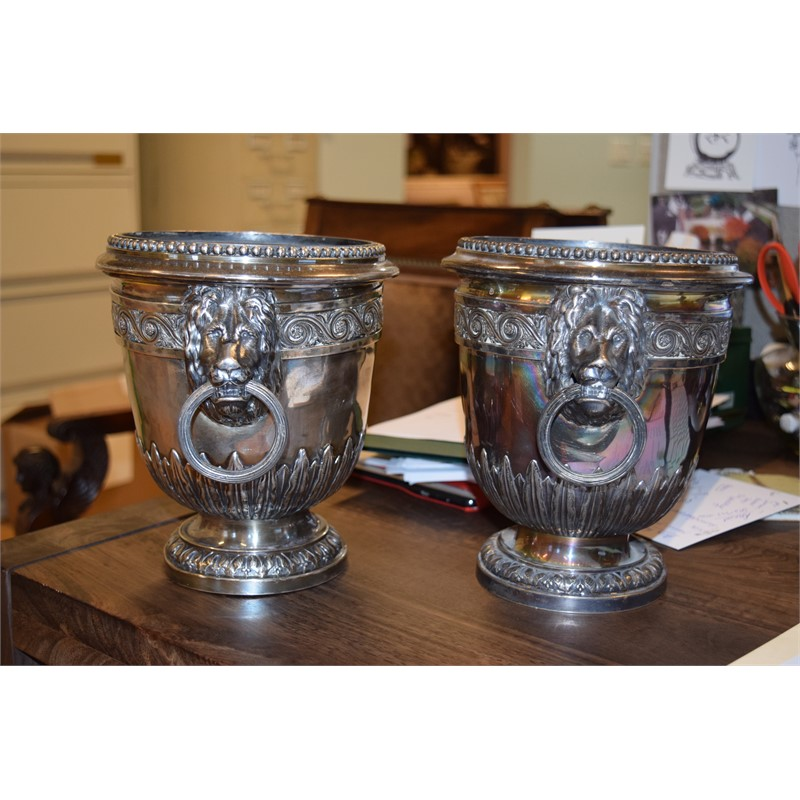 PAIR OF 19th CENTURY SILVER PLATED WINE COOLERS