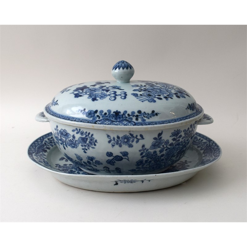 BLUE AND WHITE SILVER FORM TUREEN, COVER AND STAND, Chinese, circa 1740 - 1750