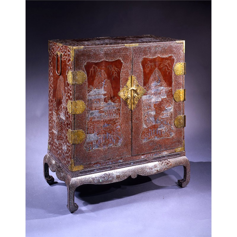 JAPANESE MOTHER OF PEARL INLAID CABINET ON STAND, Japanese, late Edo period, early 19th century