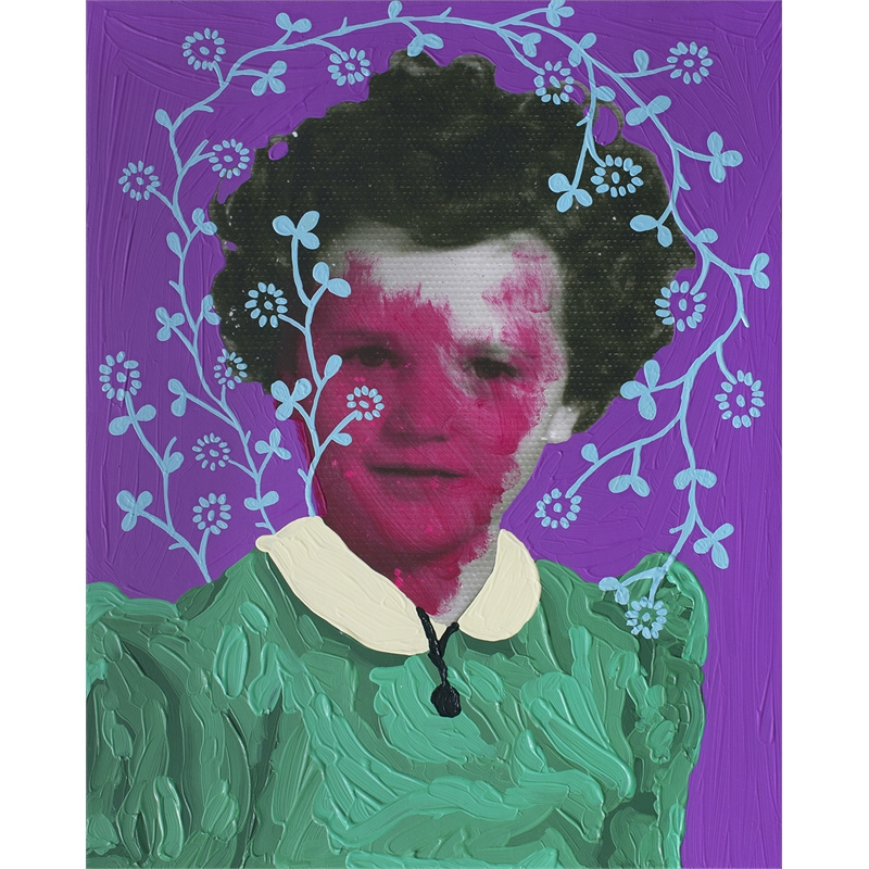 Untitled (Magenta Girl and Aqua Pattern) by Daisy Patton