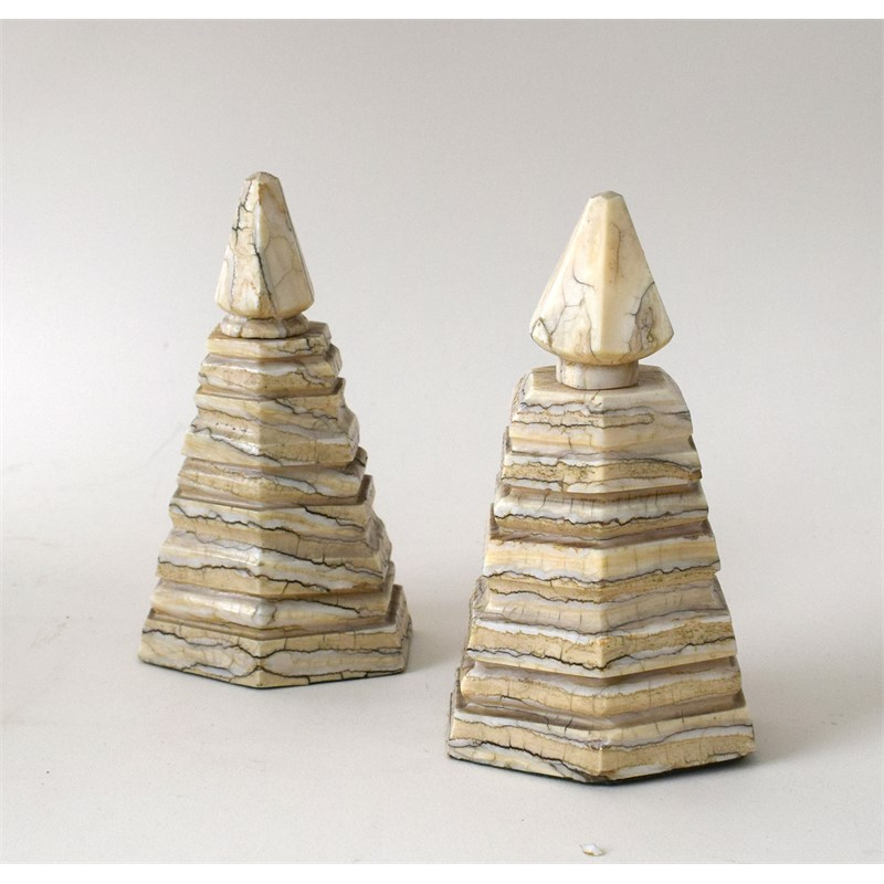 PAIR OF ALABASTER OBELISKS, American, 20th century
